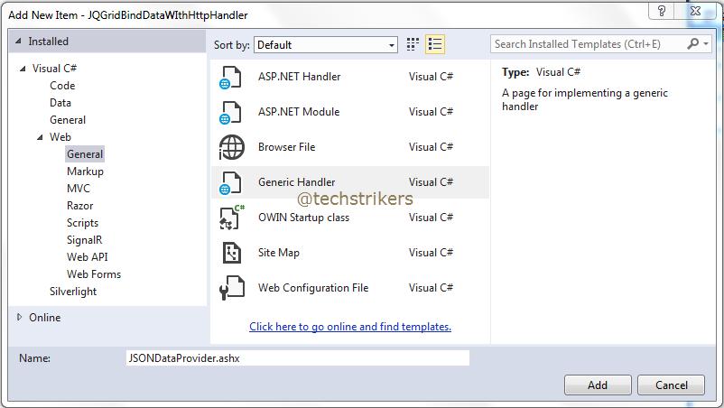 Jqgrid Server Side Processing Using Httphandler In Asp Net