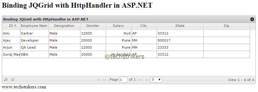 JQGrid Server-Side processing using HttpHandler in ASP NET