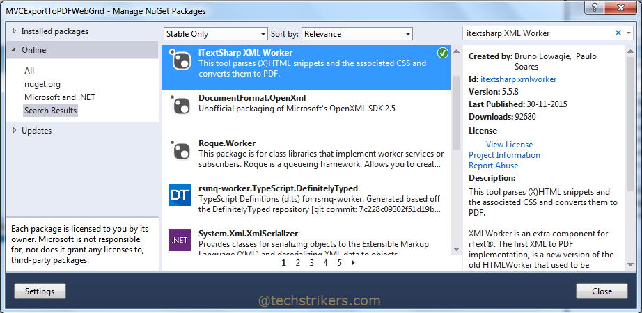 Export To Excel From WebGrid In ASP NET MVC5 and Entity
