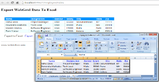 Export To Excel From WebGrid In ASP NET MVC5 and Entity Framework 6