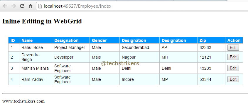 Webgrid inline editing using jquery and asp net mvc 5 with for Table design in mvc 4